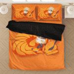 Sleeping Chibi Naruto And Baby Kurama Orange Bedding Set