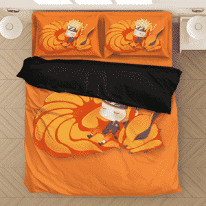 Sleeping Chibi Naruto And Baby Kurama Orange Bedding Set