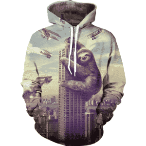 Sloth King Kong Climbing High Building Planes Attack Funny Hoodie - Woof Apparel