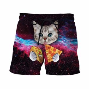 Space Galaxy Blue Eyes Cat Eating Taco Pizza Awesome 3D Shorts - Woof Apparel