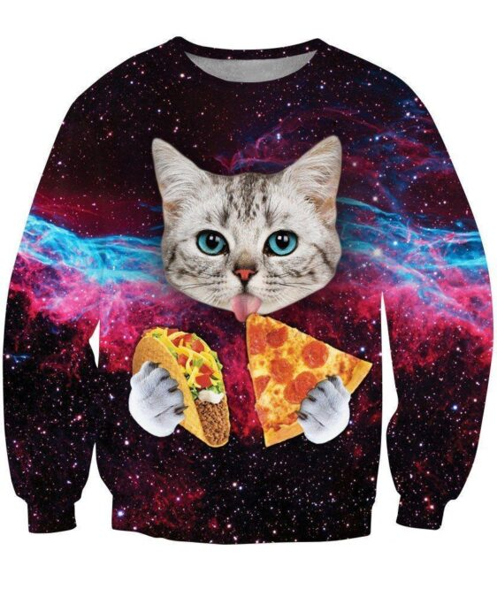 Space Galaxy Blue Eyes Cat Eating Taco Pizza Awesome 3D Sweatshirt - Woof Apparel