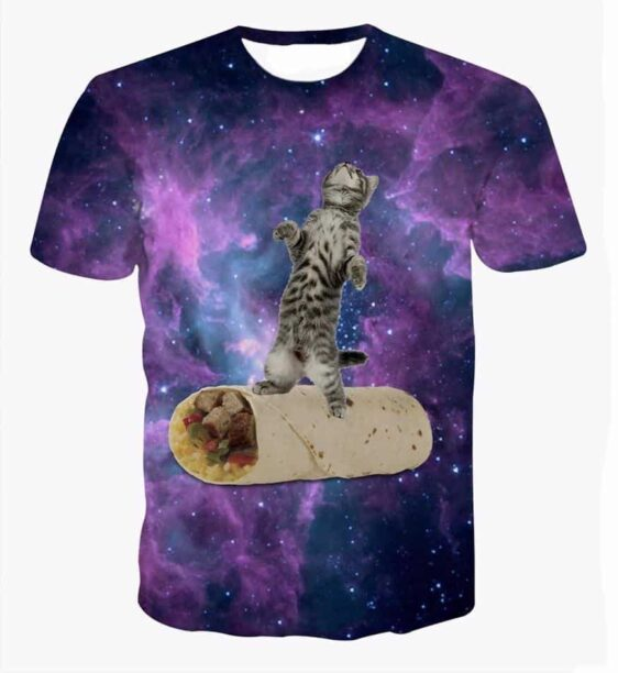 Striped Grey Cat Surfing on a Mexican Burrito Purple Space T-Shirt - Woof Apparel