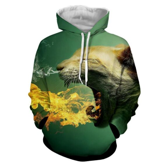 Super Angry Cat Flame Burning Unique Style Dope Hoodie