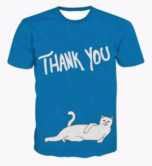 Thank You Says the White Cat Unique Popular Blue Printed T-Shirt - Woof Apparel