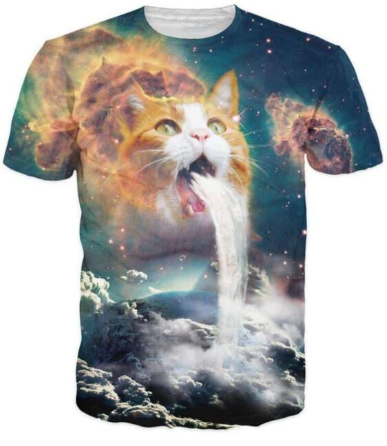 The Psychedelic Cat Space Galaxy Clouds Waterfall Fantastic 3D T-Shirt - Woof Apparel