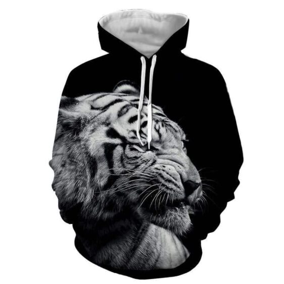Tiger Head Portrait Black White Edition Simple Style Hoodie