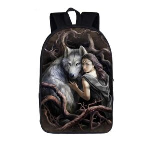 Tough Wolf And His Master Lost In The Wild Forest Backpack