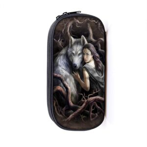Tough Wolf and his Master Lost in the Wild Forest Pencil Case