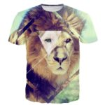 Triangle Square Geometric Shapes Royal King Wild Lion 3D T-Shirt - Woof Apparel