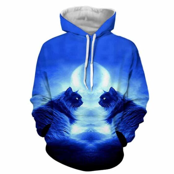 Twin Fluffy Cats Blue Vibe 3D-Printed Art Style Hoodie