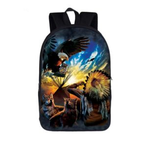Two Wolves Native American and Eagle on Day Break Backpack