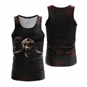 Unique Pirate Skull Death Match Black And Red Tank Top