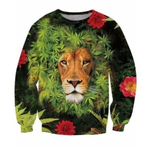 Flowers Weed Marijuana Leaves Lion's Mane Hipster Dope 3D Sweatshirt