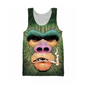 Smoking Funny Gorilla Monkey Gym 3D Swag Cool Tank Top