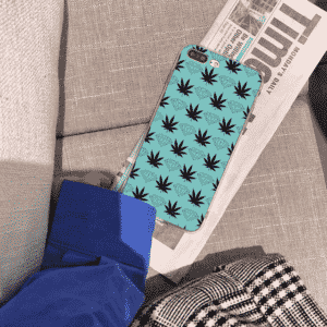 Weed And Diamonds Pattern Light Blue iPhone 11 Case