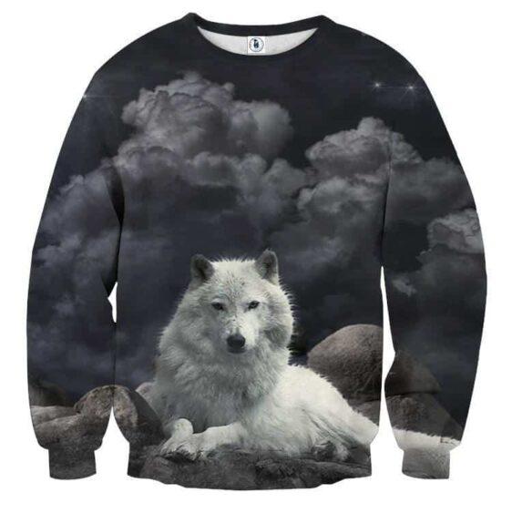 White Fur Wolf Mischievous Cloud Shape Dark Grey Sweatshirt