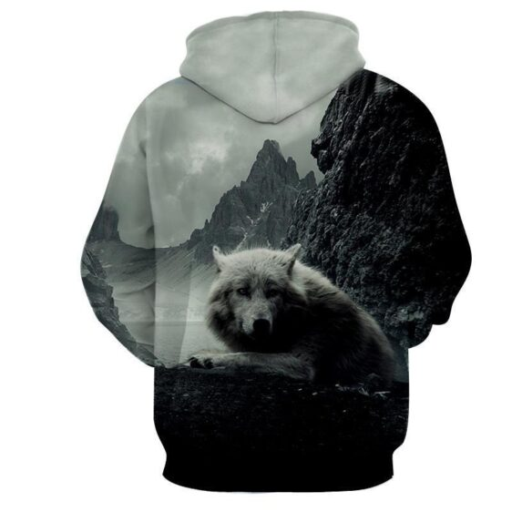 Wild Old Wolf Frosty Nature Background Solid Fashion Hoodie