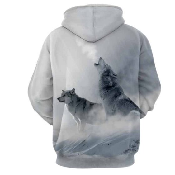 Winter Wolf Cold Snow Howling Pack Gorgeous White Hoodie