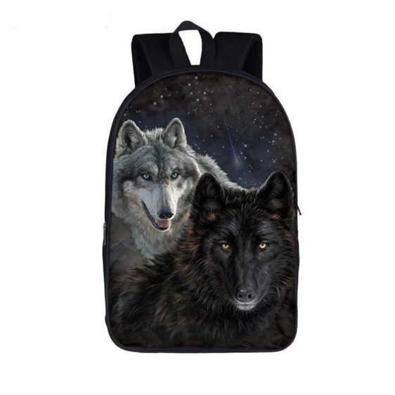Wolf Duo Gray and Black Canines Dark Starry Night Backpack