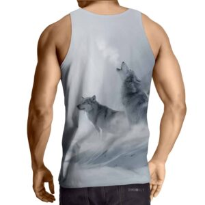 Wolves Snow Search Cool Design Workout Gray Tank Top
