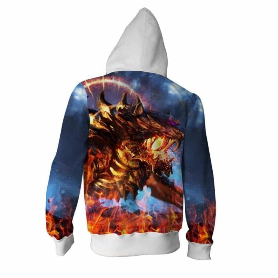 Fuming Mad Spiky Tiger Blazing With Fire Vibrant Zip Up Hoodie