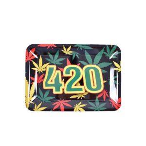 420 Rasta Flag Red Gold & Green Marijuana Herb Rolling Tray
