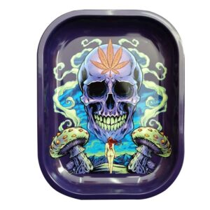 420 Skeleton God Seducing Naked Lady Marijuana Rolling Tray