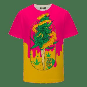 Budding Kush Joint Drip Pink Dope 420 Marijuana T-Shirt