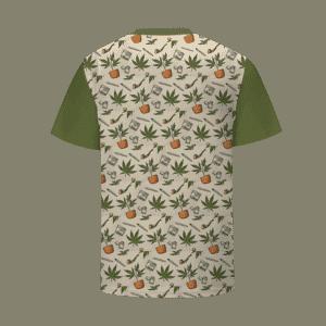 Cannabis Marijuana 420 Kush Blunt Illustration Pattern T-Shirt