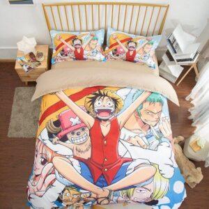 Cheerful Luffy Nami Usopp Zoro Sanji And Chopper Bed Set