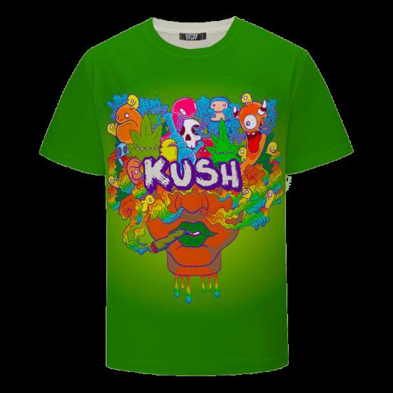 Colorful Trippy Cartoon Kush Blunt Art 420 Marijuana T-shirt