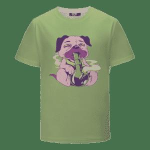 Cute Smoked Up Pug Out of a Bong Green 420 Marijuana T-shirt