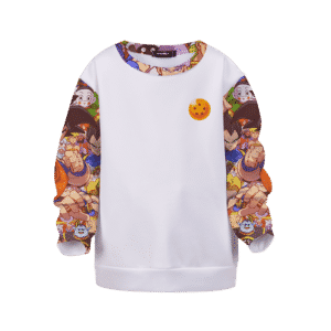 DBZ All Characters Awesome Art White Kids Pullover Sweater