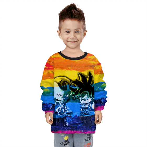 DBZ Chibi Frieza Goku Poster Paint Artistic Colorful Kids Sweatshirt