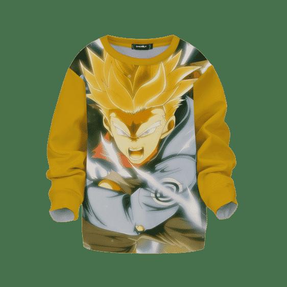 DBZ Super Saiyan Future Trunks Angry Yellow Kids Sweatshirt