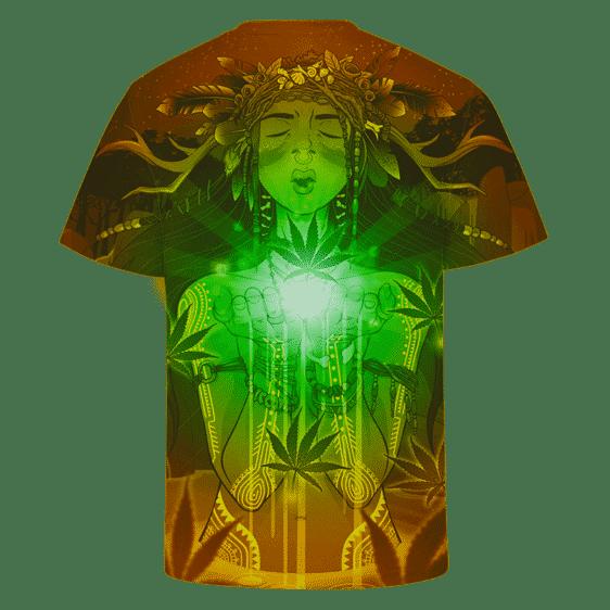 Dope Marijuana Cute Girl Art Brown And Green Awesome T-shirt