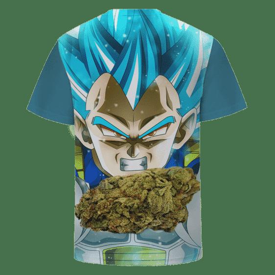Dragon Ball Stoned SSJ Blue Vegeta Marijuana Nug Cool T-shirt