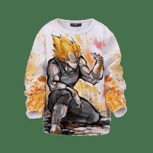 Dragon Ball Super Saiyan Vegeta Painted Color Splash Kids Sweater