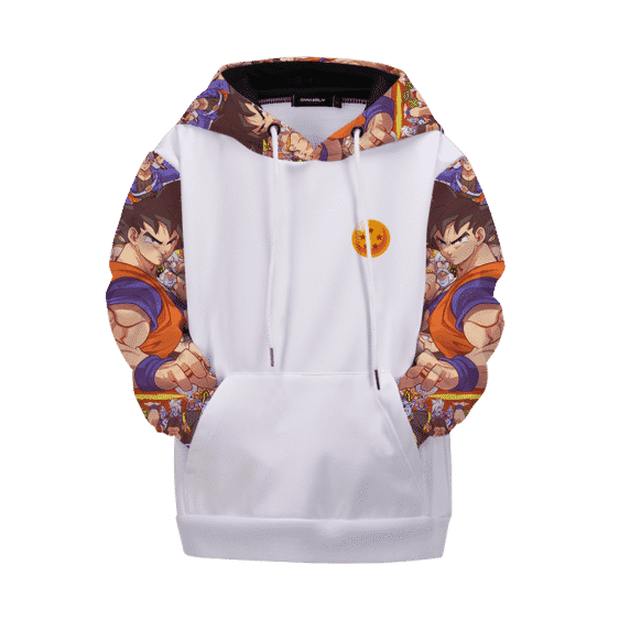 Dragon Ball Z All Characters Awesome Art White Kids Hoodie
