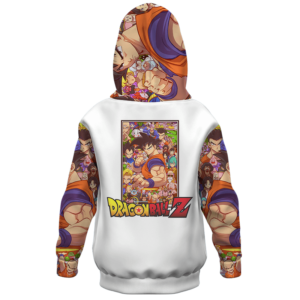 Dragon Ball Z All Characters Awesome Art White Kids Hoodie Back