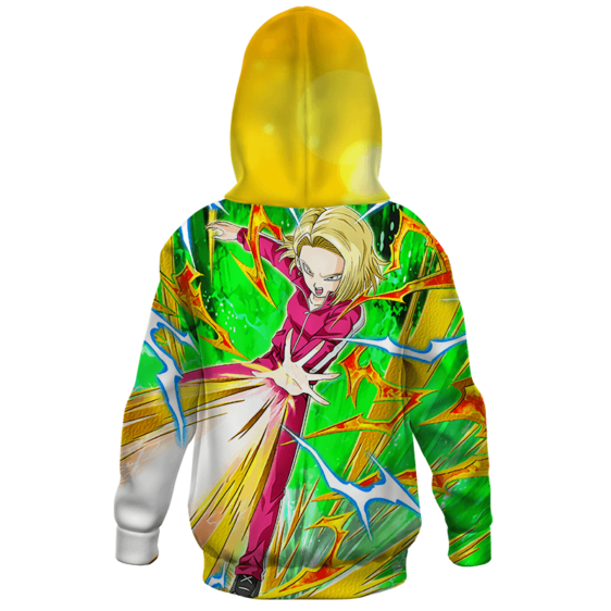 Dragon Ball Z Android 18 Colorful Cool Art Kids Hoodie
