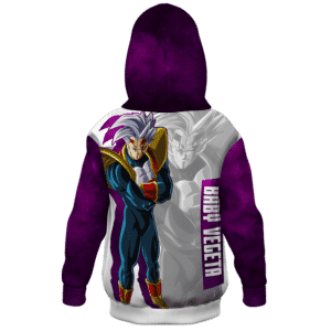 Dragon Ball Z Baby Vegeta Awesome Art White Purple Kids Hoodie Back