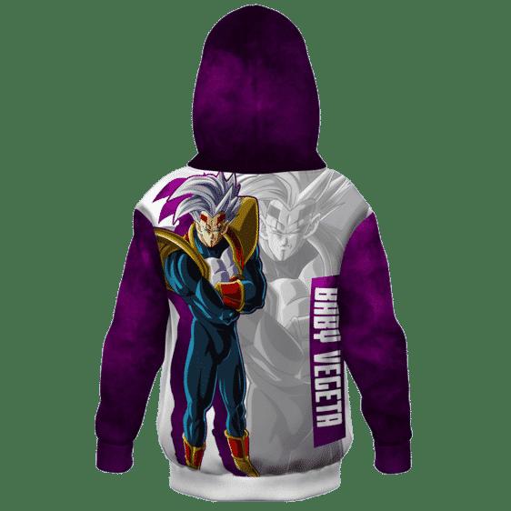 Dragon Ball Z Baby Vegeta Awesome Art White Purple Kids Hoodie Back