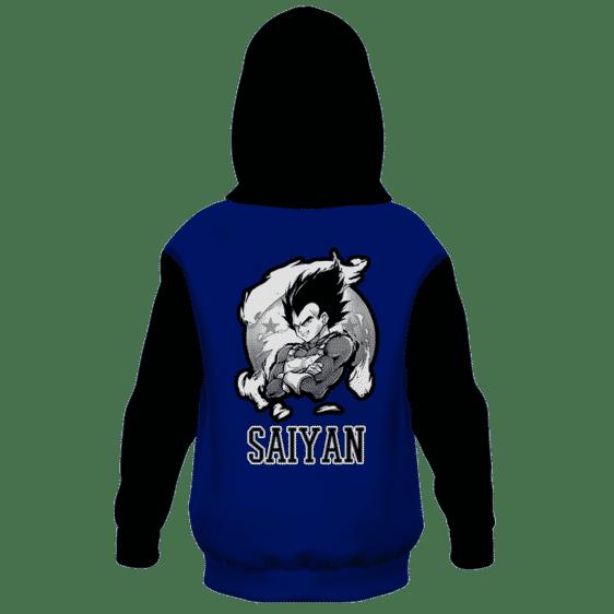 Dragon Ball Z Classic Vegeta Black Blue Kids Hoodie Back