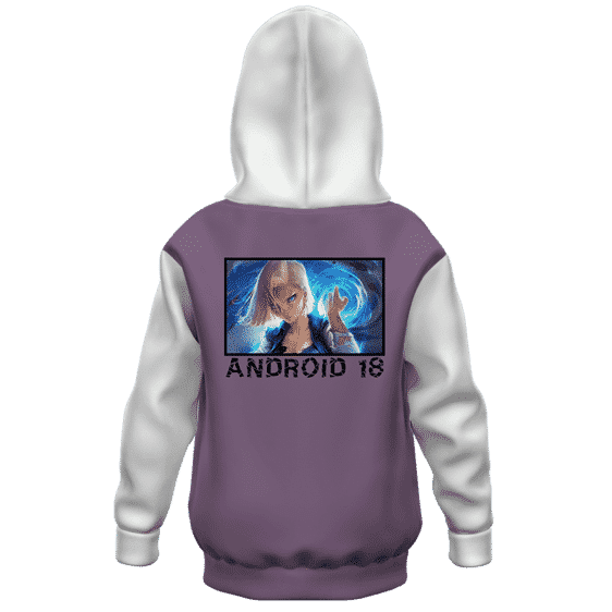 Dragon Ball Z Fierce Charging Android 18 Kids Hoodie Back