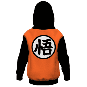Dragon Ball Z Goku Kanji Black Orange Style Kids Hoodie Back