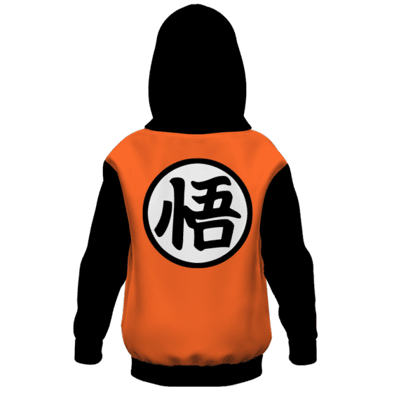 Dragon Ball Z Goku Kanji Black Orange Style Kids Hoodie Back