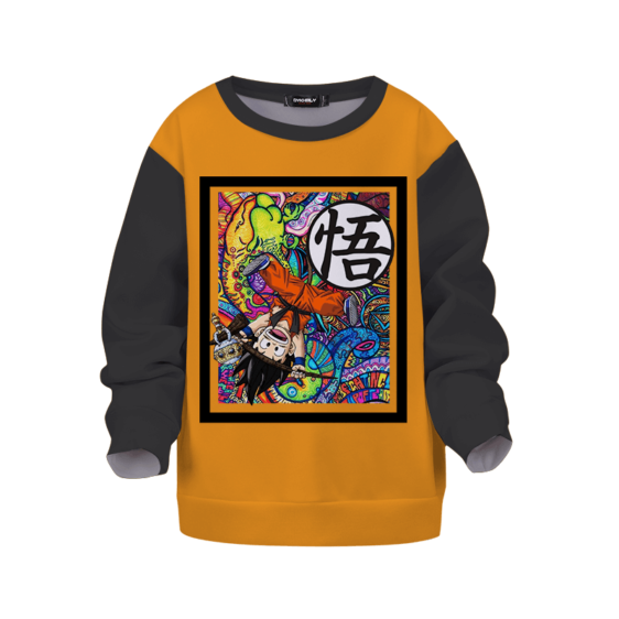 Dragon Ball Z Kid Goku Trippy Colors Orange Black Kids Sweatshirt