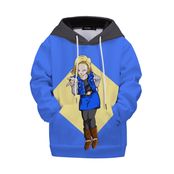 Dragon Ball Z Happy Winking Android 18 Kids Hoodie