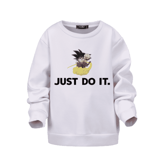 Dragon Ball Z Just Do It Kid Goku Nimbus White Kids Sweatshirt